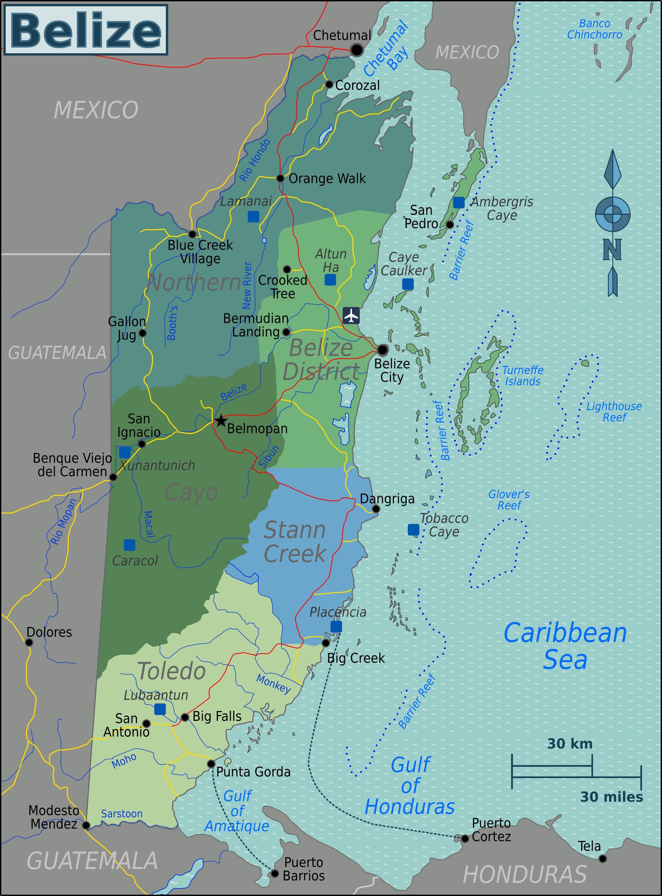 Zetva Kaye Belize Karta Zetve Kaye Belize Srednja Amerika
