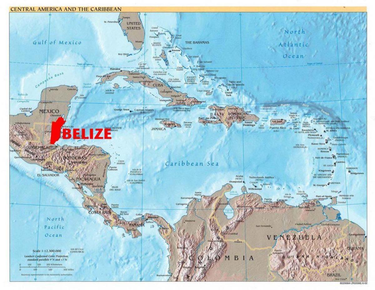 Belize Karta Centralne Amerike Kartica Sredisnje Drzave Belize